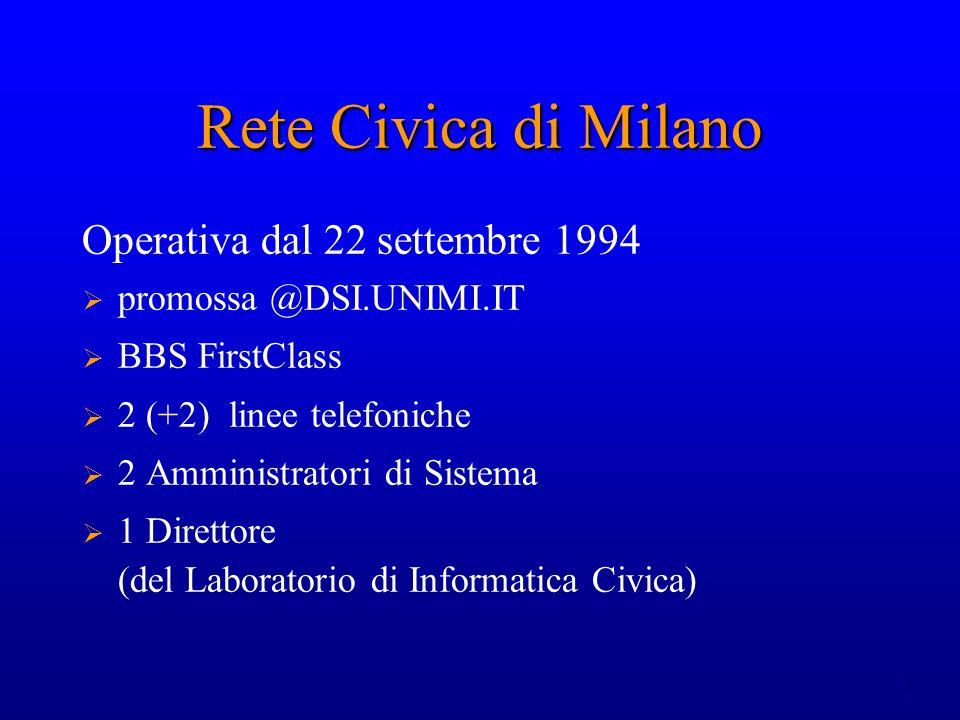 2 Rete Civica di Milano Operativa dal 22 settembre 1994 promossa @DSI.UNIMI.IT BBS FirstClass 2 (+2) linee telefoniche 2 Amministratori di Sistema 1 D