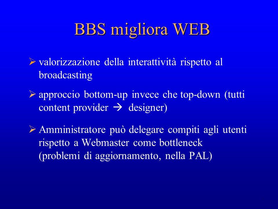 6 BBS migliora WEB valorizzazione della interattività rispetto al broadcasting approccio bottom-up invece che top-down (tutti content provider designe