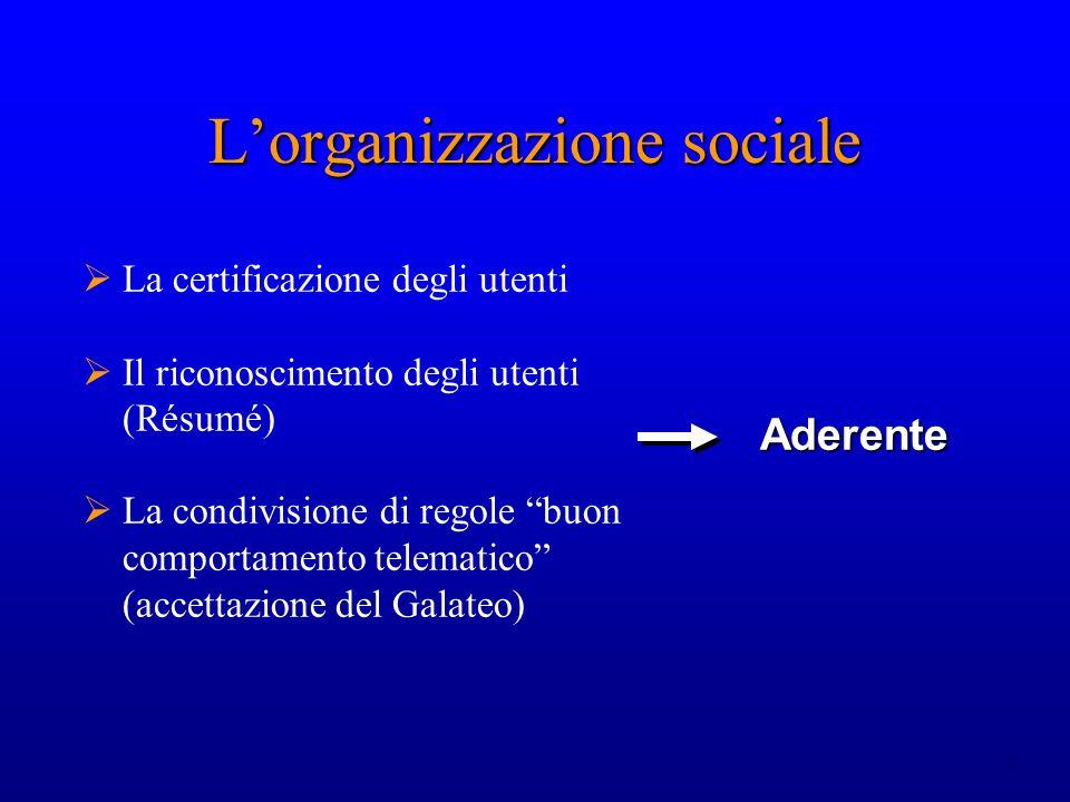 8 Lorganizzazione sociale La certificazione degli utenti Il riconoscimento degli utenti (Résumé) La condivisione di regole buon comportamento telemati