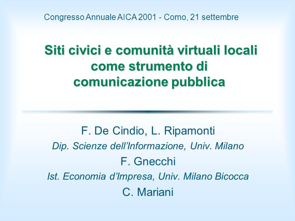 Siti civici e comunità virtuali locali come strumento di comunicazione pubblica Siti civici e comunità virtuali locali come strumento di comunicazione pubblica F.