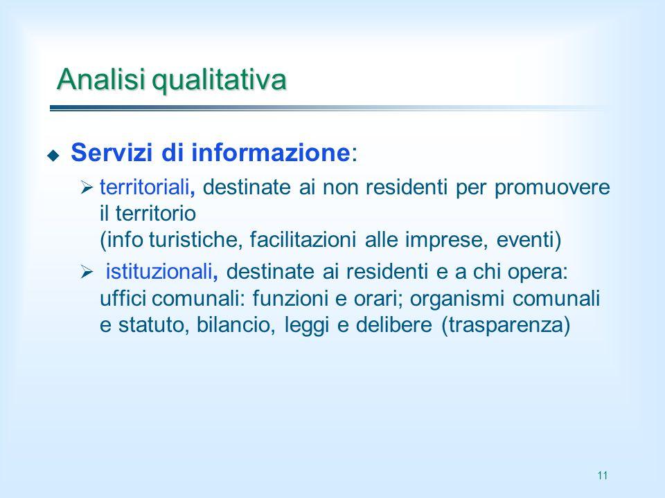 11 Analisi qualitativa Servizi di informazione: territoriali, destinate ai non residenti per promuovere il territorio (info turistiche, facilitazioni
