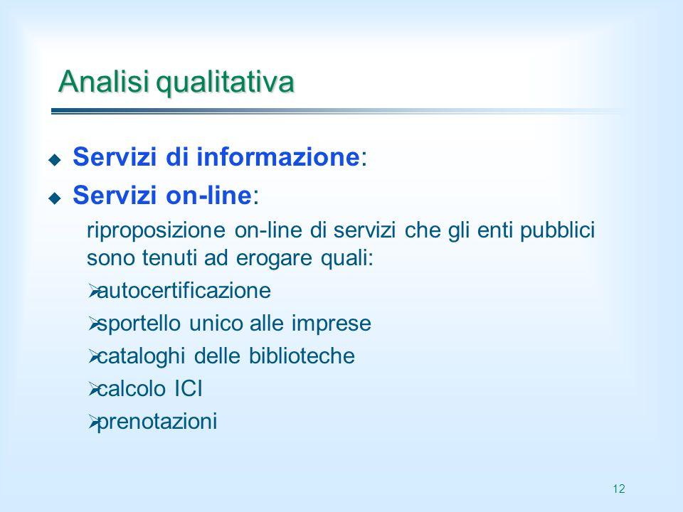 12 Analisi qualitativa Servizi di informazione: Servizi on-line: riproposizione on-line di servizi che gli enti pubblici sono tenuti ad erogare quali: