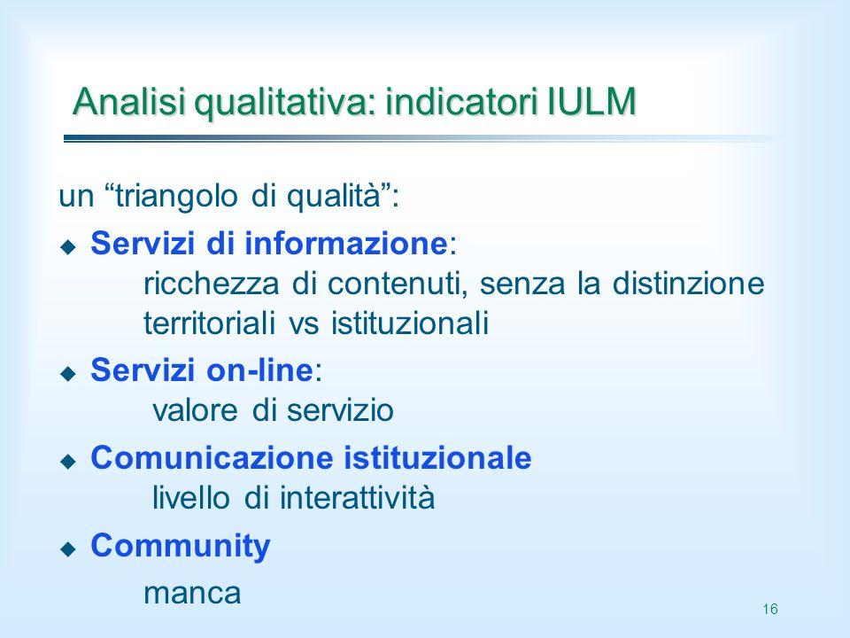 16 Analisi qualitativa: indicatori IULM un triangolo di qualità: Servizi di informazione: ricchezza di contenuti, senza la distinzione territoriali vs