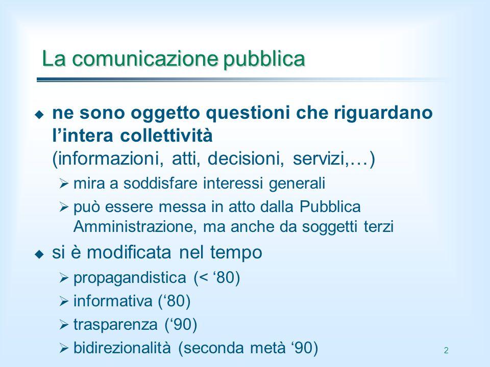 2 La comunicazione pubblica ne sono oggetto questioni che riguardano lintera collettività (informazioni, atti, decisioni, servizi,…) mira a soddisfare