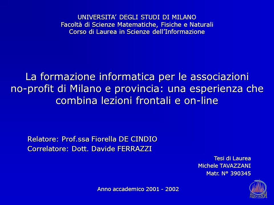 La formazione informatica per le associazioni no-profit di Milano e provincia: una esperienza che combina lezioni frontali e on-line Relatore: Prof.ss