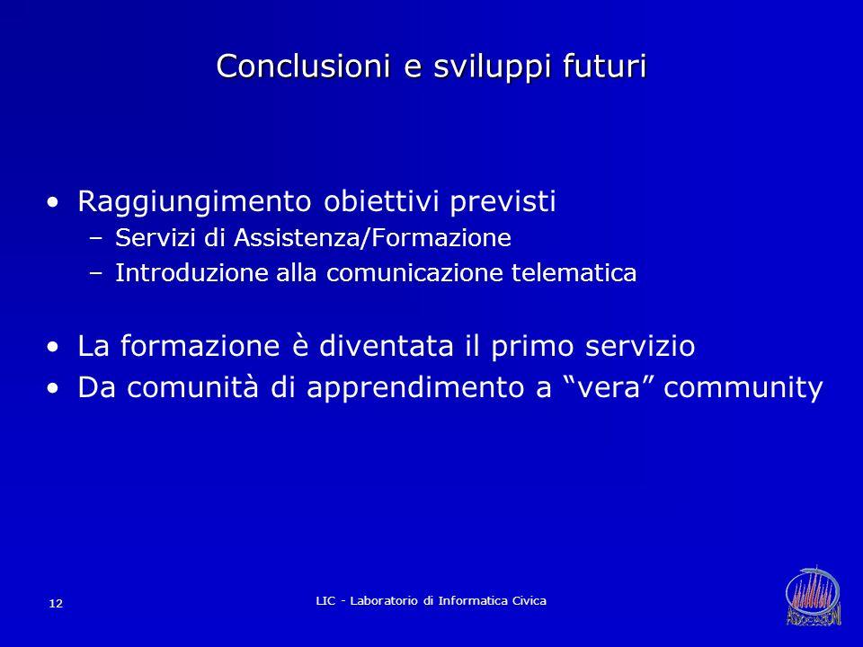 LIC - Laboratorio di Informatica Civica 12 Conclusioni e sviluppi futuri Raggiungimento obiettivi previsti –Servizi di Assistenza/Formazione –Introduz