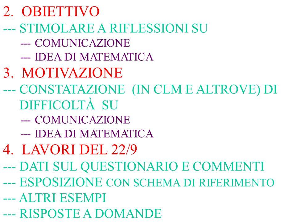 2. OBIETTIVO --- STIMOLARE A RIFLESSIONI SU --- COMUNICAZIONE --- IDEA DI MATEMATICA 3.