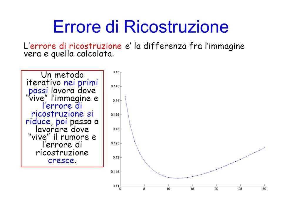 Errore di Ricostruzione Lerrore di ricostruzione e la differenza fra limmagine vera e quella calcolata. Un metodo iterativo nei primi passi lavora dov