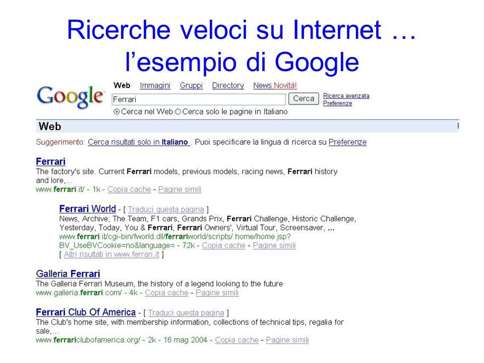 Ricerche veloci su Internet … lesempio di Google