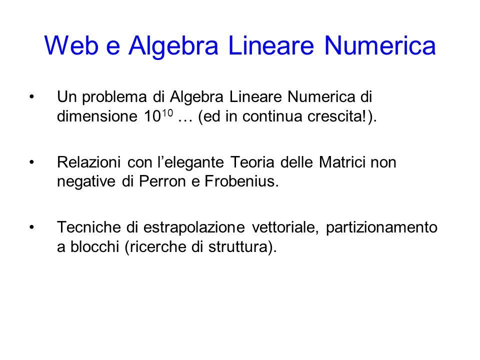 Web e Algebra Lineare Numerica Un problema di Algebra Lineare Numerica di dimensione 10 10 … (ed in continua crescita!). Relazioni con lelegante Teori