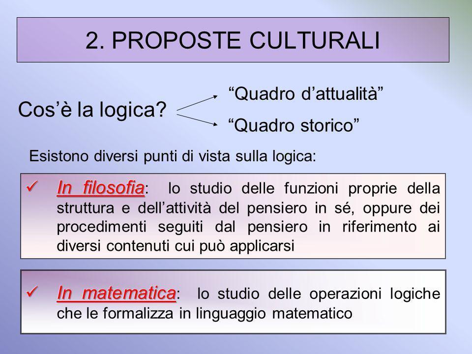 2. PROPOSTE CULTURALI Cosè la logica? Esistono diversi punti di vista sulla logica: Quadro storico Quadro dattualità