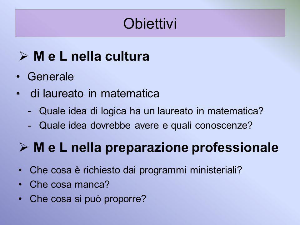 Obiettivi M e L nella cultura M e L nella preparazione professionale Generale di laureato in matematica Che cosa è richiesto dai programmi ministerial