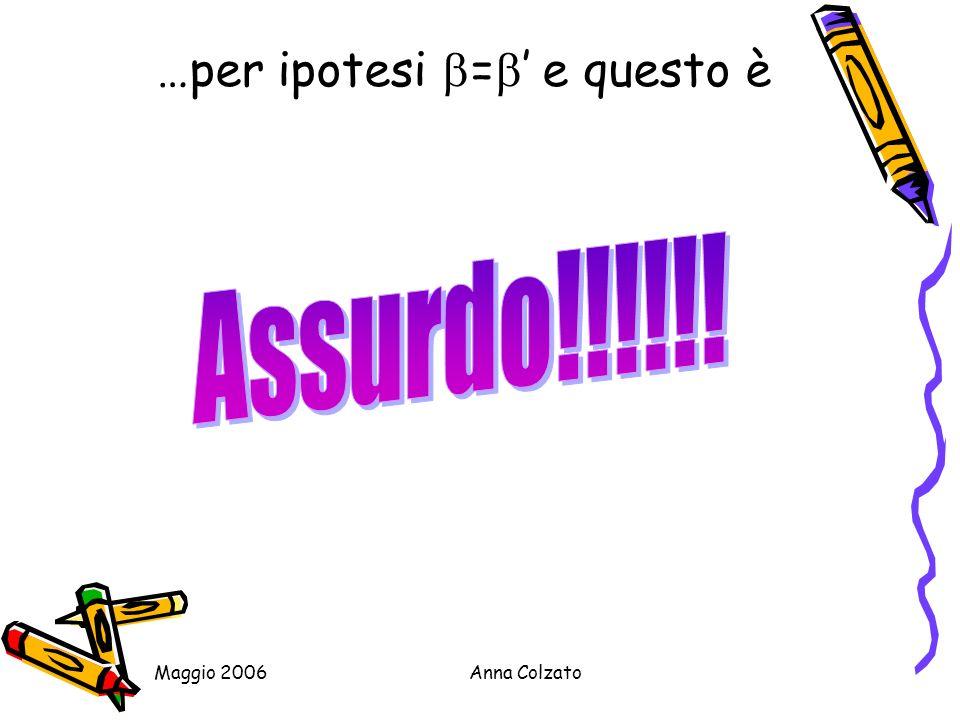 Maggio 2006Anna Colzato …per ipotesi = e questo è