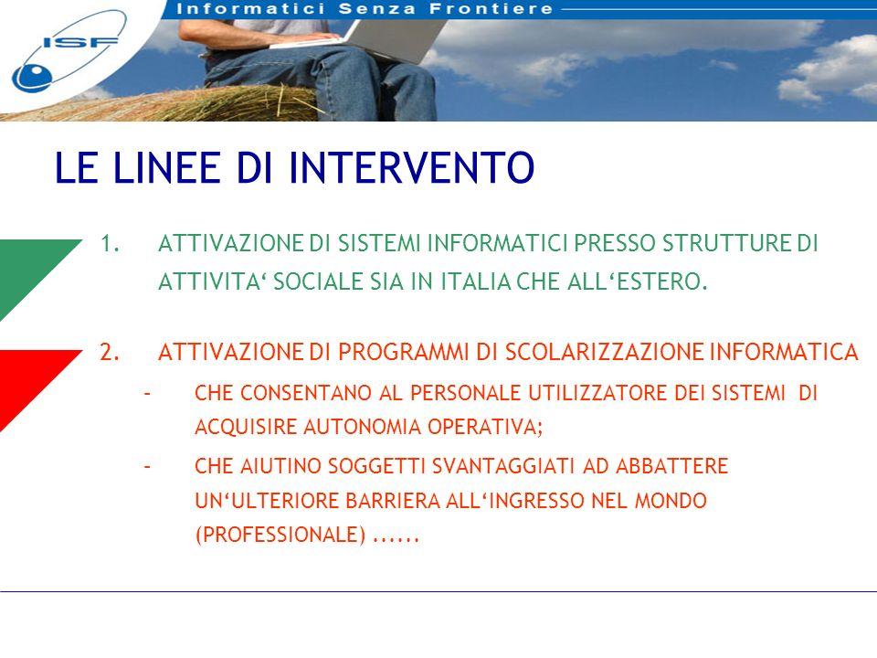 15 LE LINEE DI INTERVENTO 1.ATTIVAZIONE DI SISTEMI INFORMATICI PRESSO STRUTTURE DI ATTIVITA SOCIALE SIA IN ITALIA CHE ALLESTERO.