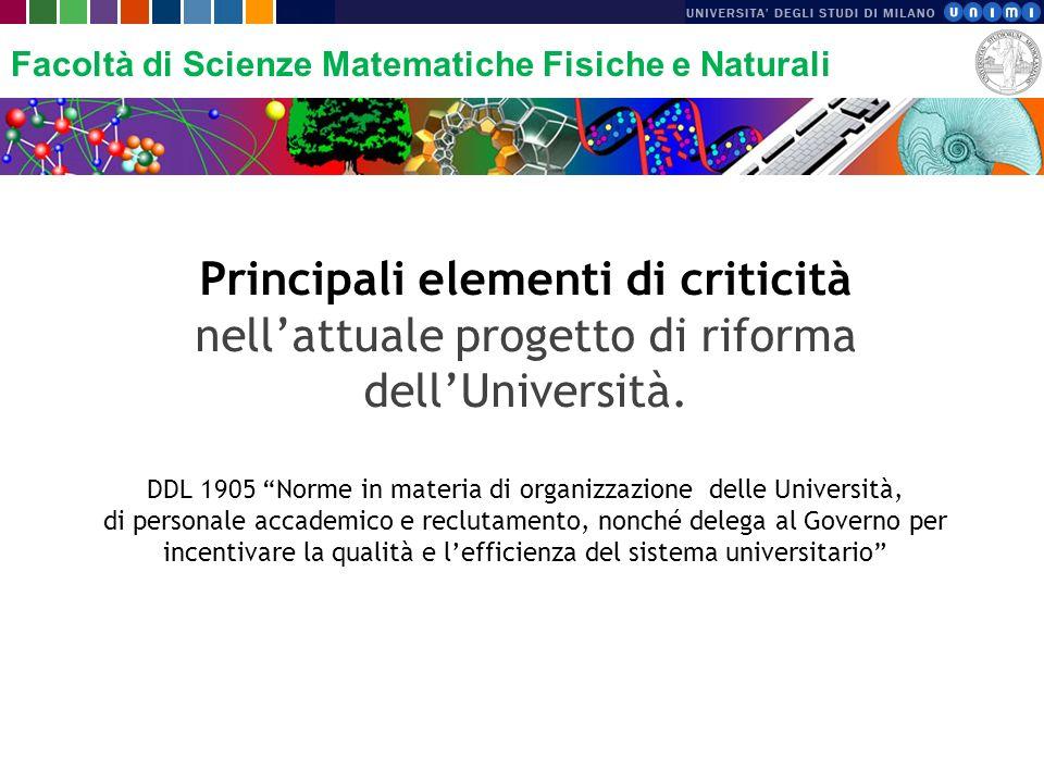 Facoltà di Scienze Matematiche Fisiche e Naturali Principali elementi di criticità nellattuale progetto di riforma dellUniversità. DDL 1905 Norme in m