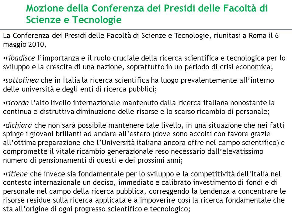 Mozione della Conferenza dei Presidi delle Facoltà di Scienze e Tecnologie La Conferenza dei Presidi delle Facoltà di Scienze e Tecnologie, riunitasi