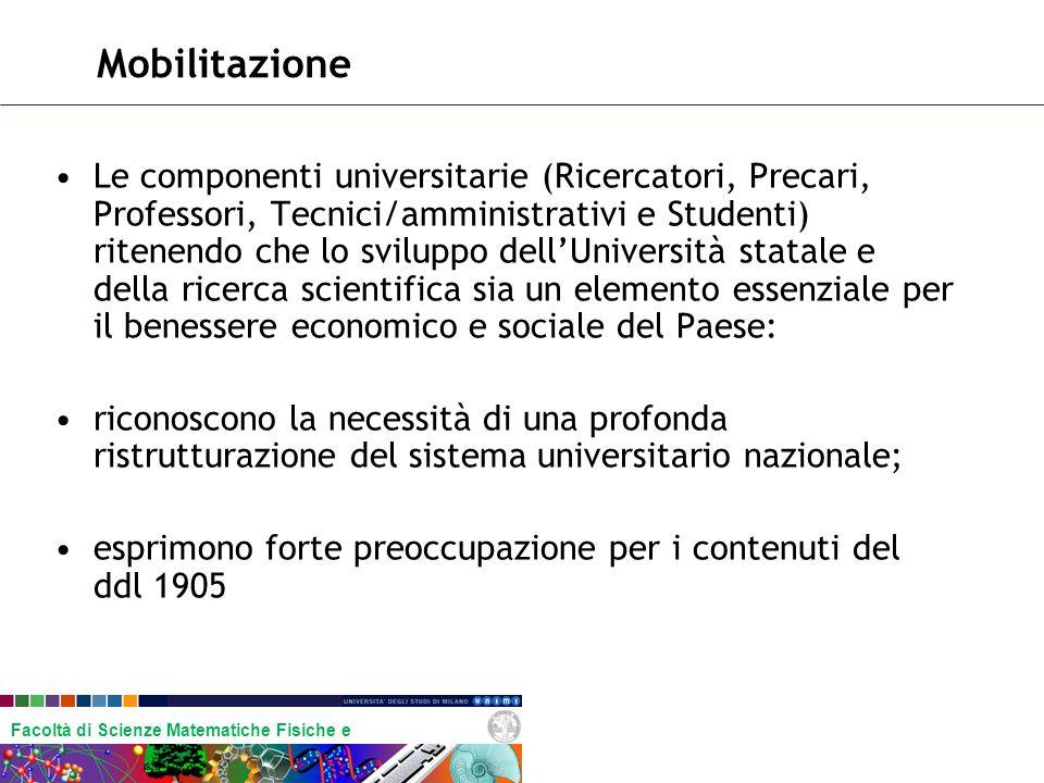 Facoltà di Scienze Matematiche Fisiche e Naturali Mobilitazione Le componenti universitarie (Ricercatori, Precari, Professori, Tecnici/amministrativi