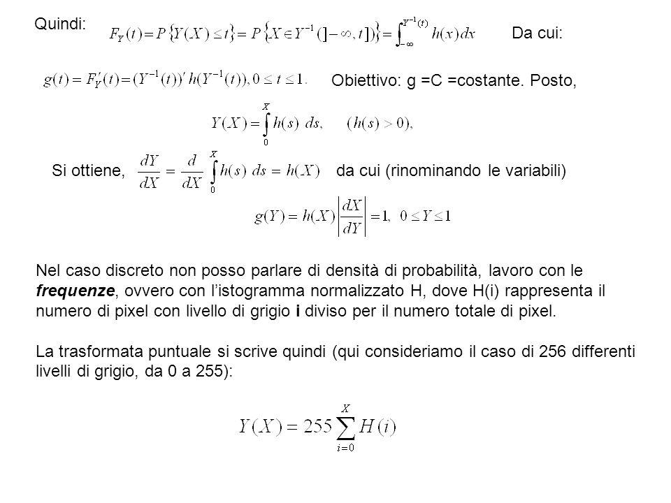 Nel caso discreto non posso parlare di densità di probabilità, lavoro con le frequenze, ovvero con listogramma normalizzato H, dove H(i) rappresenta i
