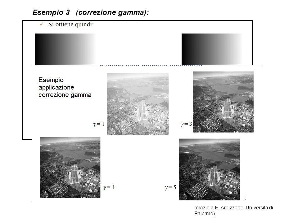 Equalizzazione dellistogramma Considero il caso continuo, normalizzando i valori dei pixel, sia: X [0,1], il valore del pixel e h(X) la corrispondente densità; Y valore trasformato, Y=Y(X), con densità g(Y) Desidero che g(Y)=C=costante (sperimentalmente le immagini con un istogramma approssimativamente uniforme presentano un miglior contrasto).