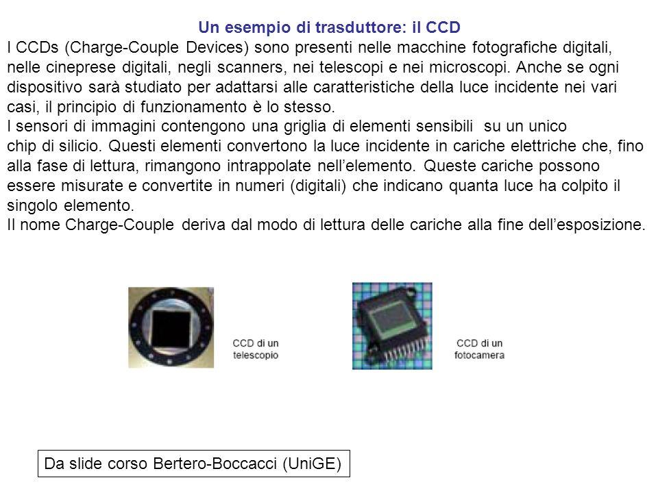 Un esempio di trasduttore: il CCD I CCDs (Charge-Couple Devices) sono presenti nelle macchine fotografiche digitali, nelle cineprese digitali, negli s