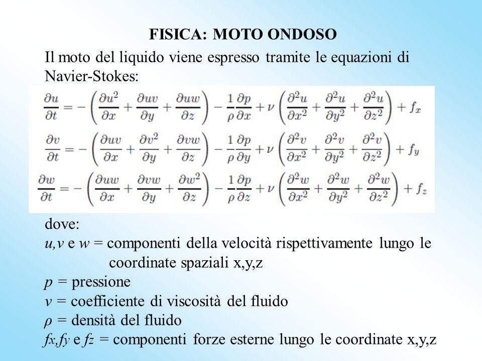 dove: u,v e w = componenti della velocità rispettivamente lungo le coordinate spaziali x,y,z p = pressione ν = coefficiente di viscosità del fluido ρ