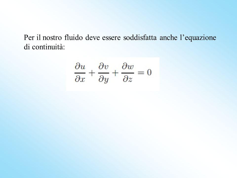 Per il nostro fluido deve essere soddisfatta anche lequazione di continuità: