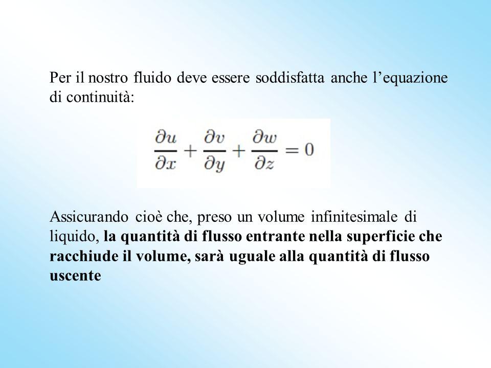 Assicurando cioè che, preso un volume infinitesimale di liquido, la quantità di flusso entrante nella superficie che racchiude il volume, sarà uguale