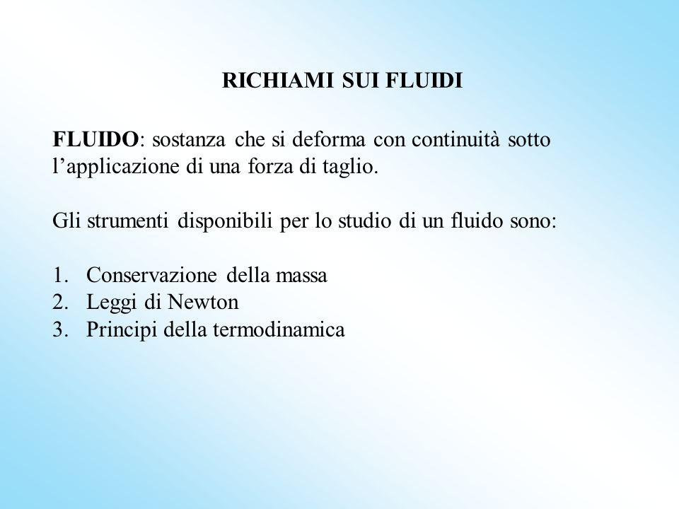 RICHIAMI SUI FLUIDI FLUIDO: sostanza che si deforma con continuità sotto lapplicazione di una forza di taglio.