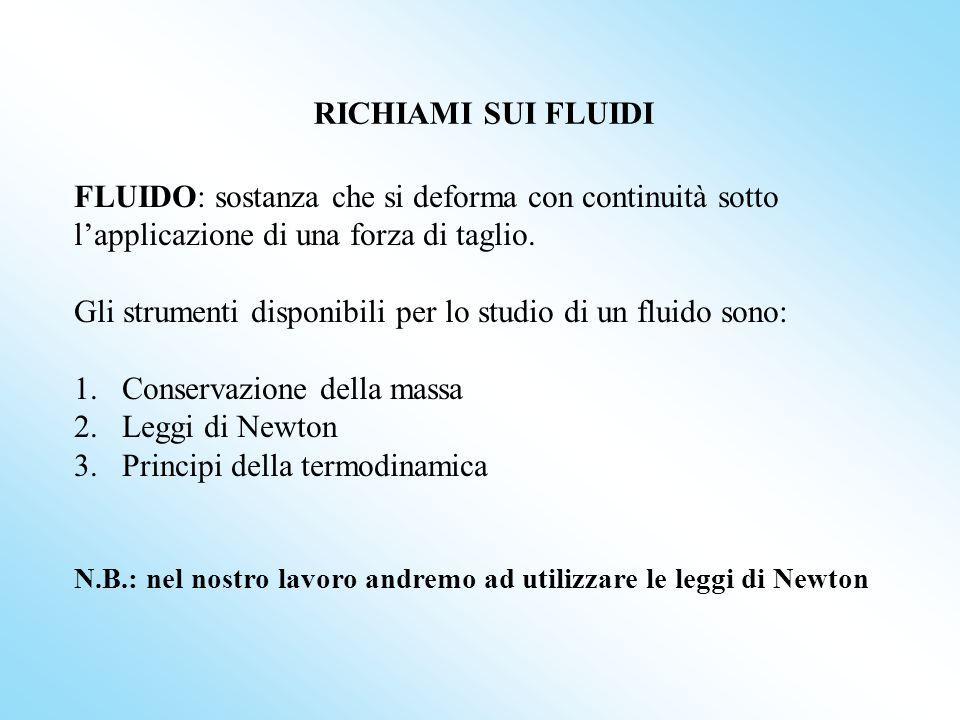 RICHIAMI SUI FLUIDI FLUIDO: sostanza che si deforma con continuità sotto lapplicazione di una forza di taglio. Gli strumenti disponibili per lo studio