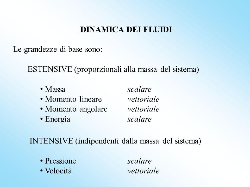 DINAMICA DEI FLUIDI Le grandezze di base sono: ESTENSIVE (proporzionali alla massa del sistema) Massa scalare Momento linearevettoriale Momento angola