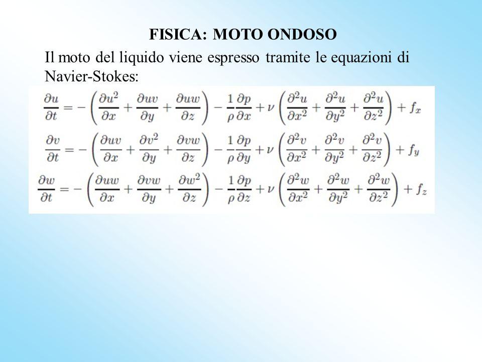 dove: u,v e w = componenti della velocità rispettivamente lungo le coordinate spaziali x,y,z p = pressione ν = coefficiente di viscosità del fluido ρ = densità del fluido f x,f y e f z = componenti forze esterne lungo le coordinate x,y,z FISICA: MOTO ONDOSO Il moto del liquido viene espresso tramite le equazioni di Navier-Stokes: