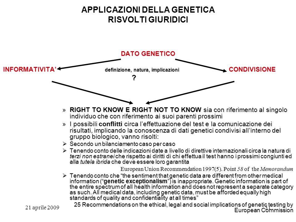 21 aprile 200931 APPLICAZIONI DELLA GENETICA RISVOLTI GIURIDICI DATO GENETICO INFORMATIVITA definizione, natura, implicazioni CONDIVISIONE ? »RIGHT TO
