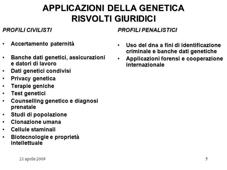 21 aprile 20096 APPLICAZIONI DELLA GENETICA RISVOLTI GIURIDICI I LIMITI DEL CORPO UMANO COME TERRENO DI SCOPERTA E DI SCONTRO TRA DISCIPLINE Le nuove applicazioni della genetica, le novità in materia di biotecnologie e tecniche mediche, la ricerca biologica in generale coinvolgono sempre più da vicino gli individui nella loro realtà biologica Si moltiplicano i modi di concepire, si sceglie come e quando morire, si cambia la propria condizione fisica a prescindere da uno stato di vera patologia