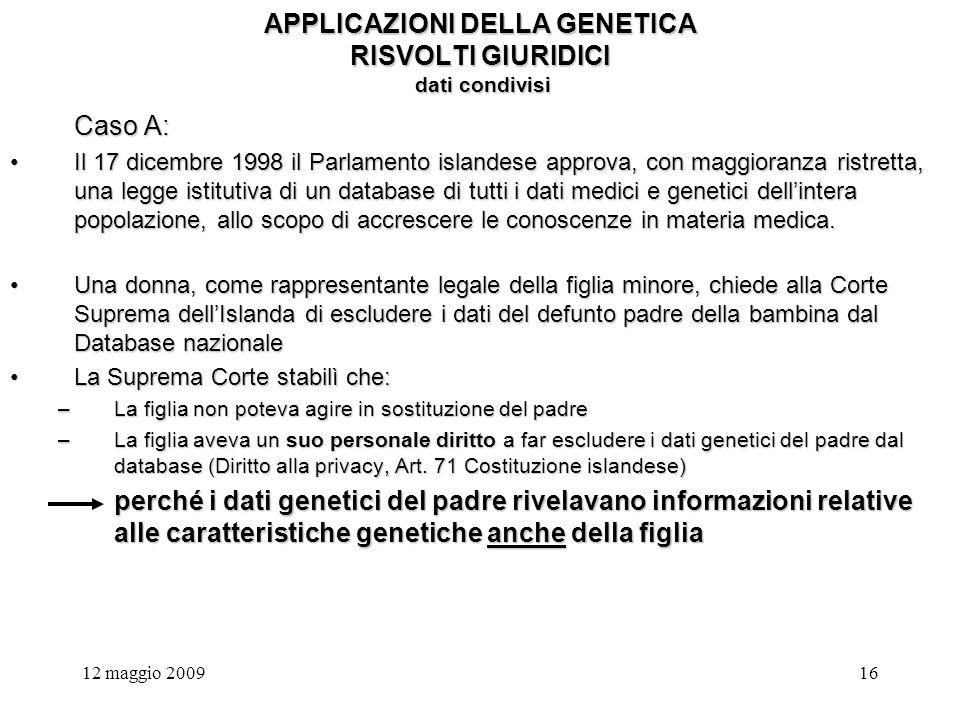 12 maggio 200916 APPLICAZIONI DELLA GENETICA RISVOLTI GIURIDICI dati condivisi Caso A: Il 17 dicembre 1998 il Parlamento islandese approva, con maggioranza ristretta, una legge istitutiva di un database di tutti i dati medici e genetici dellintera popolazione, allo scopo di accrescere le conoscenze in materia medica.Il 17 dicembre 1998 il Parlamento islandese approva, con maggioranza ristretta, una legge istitutiva di un database di tutti i dati medici e genetici dellintera popolazione, allo scopo di accrescere le conoscenze in materia medica.