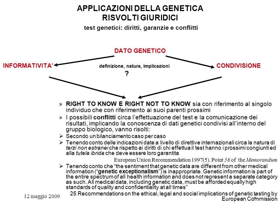 12 maggio 20092 APPLICAZIONI DELLA GENETICA RISVOLTI GIURIDICI test genetici: diritti, garanzie e conflitti DATO GENETICO INFORMATIVITA definizione, natura, implicazioni CONDIVISIONE .