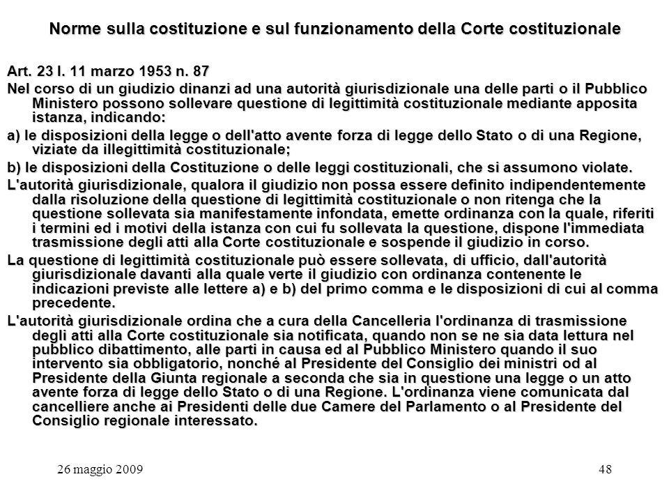 26 maggio 200948 Norme sulla costituzione e sul funzionamento della Corte costituzionale Art.
