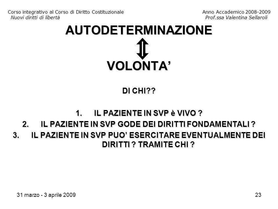 31 marzo - 3 aprile 200923 Corso integrativo al Corso di Diritto CostituzionaleAnno Accademico 2008-2009 Nuovi diritti di libertàProf.ssa Valentina Sellaroli AUTODETERMINAZIONEVOLONTA DI CHI .