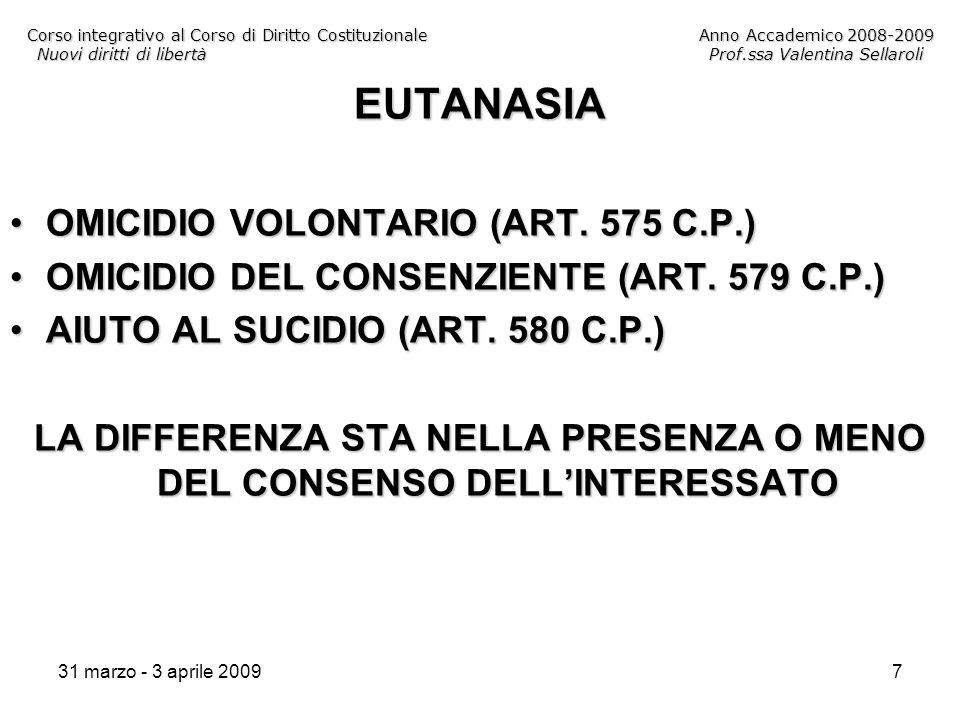 31 marzo - 3 aprile 20097 Corso integrativo al Corso di Diritto CostituzionaleAnno Accademico 2008-2009 Nuovi diritti di libertàProf.ssa Valentina Sellaroli EUTANASIA OMICIDIO VOLONTARIO (ART.