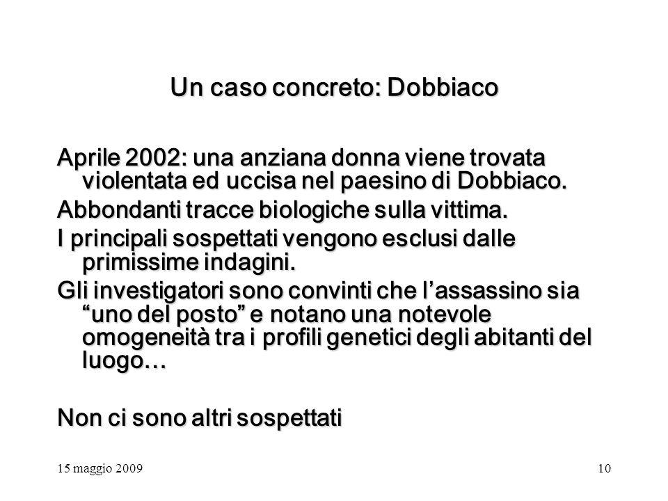 15 maggio 200910 Un caso concreto: Dobbiaco Aprile 2002: una anziana donna viene trovata violentata ed uccisa nel paesino di Dobbiaco.