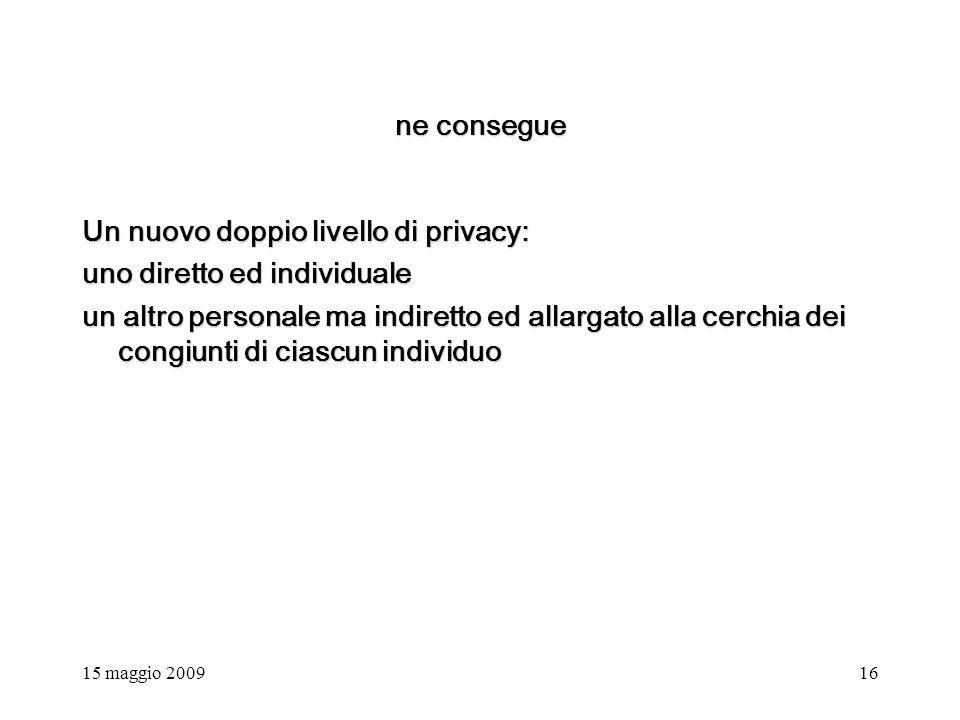 15 maggio 200916 ne consegue Un nuovo doppio livello di privacy: uno diretto ed individuale un altro personale ma indiretto ed allargato alla cerchia dei congiunti di ciascun individuo