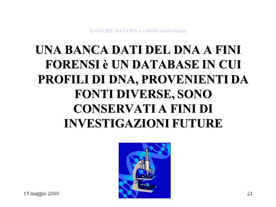 15 maggio 200924 BANCHE DATI DNA e diritti individuali UNA BANCA DATI DEL DNA A FINI FORENSI è UN DATABASE IN CUI PROFILI DI DNA, PROVENIENTI DA FONTI DIVERSE, SONO CONSERVATI A FINI DI INVESTIGAZIONI FUTURE