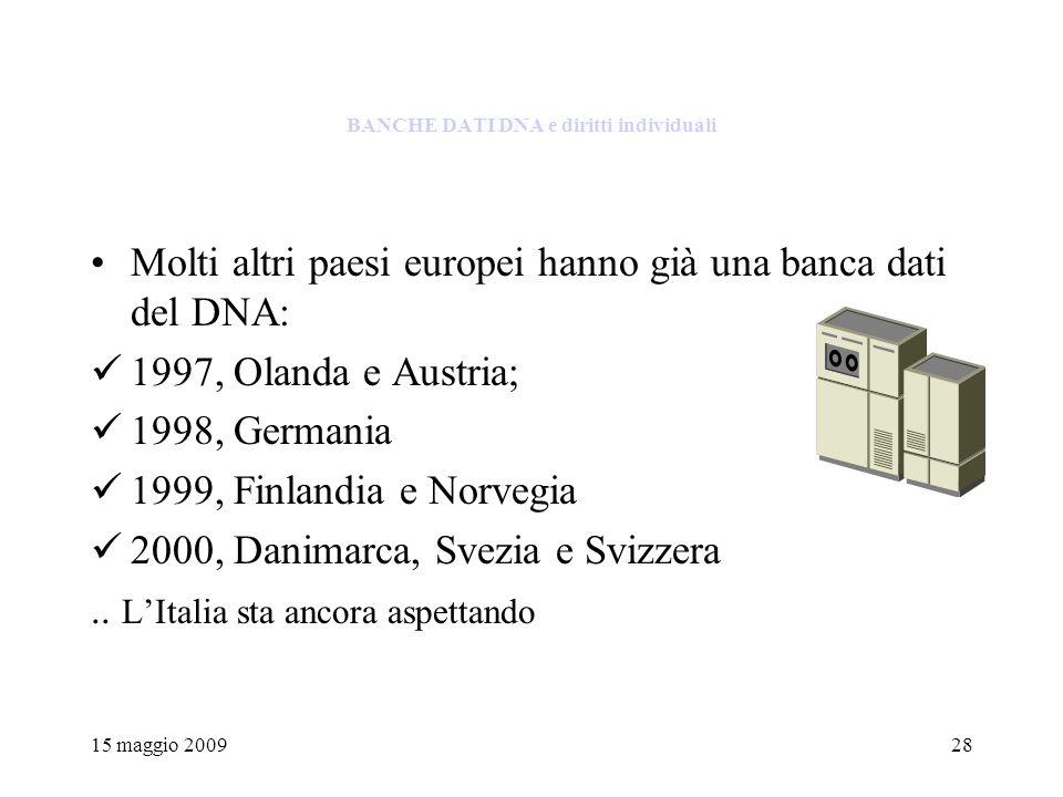15 maggio 200928 BANCHE DATI DNA e diritti individuali Molti altri paesi europei hanno già una banca dati del DNA: 1997, Olanda e Austria; 1998, Germania 1999, Finlandia e Norvegia 2000, Danimarca, Svezia e Svizzera..