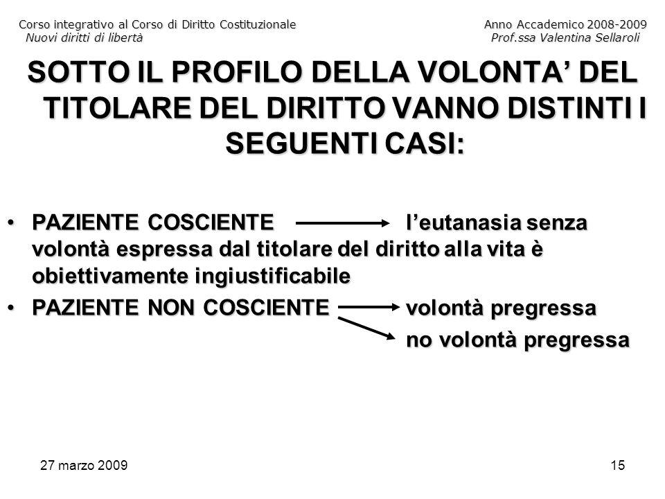 27 marzo 200915 Corso integrativo al Corso di Diritto CostituzionaleAnno Accademico 2008-2009 Nuovi diritti di libertàProf.ssa Valentina Sellaroli SOT