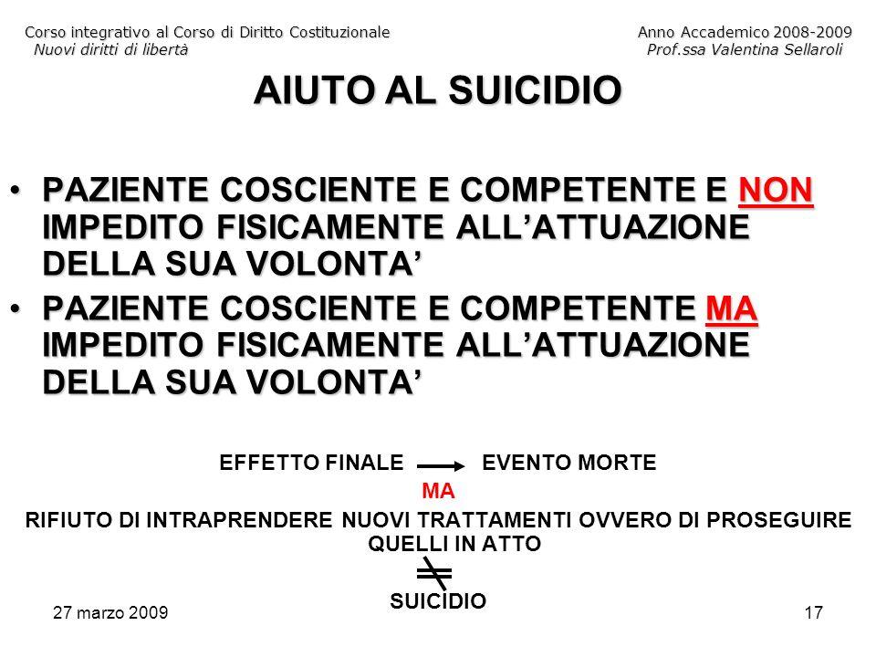 27 marzo 200917 Corso integrativo al Corso di Diritto CostituzionaleAnno Accademico 2008-2009 Nuovi diritti di libertàProf.ssa Valentina Sellaroli AIU
