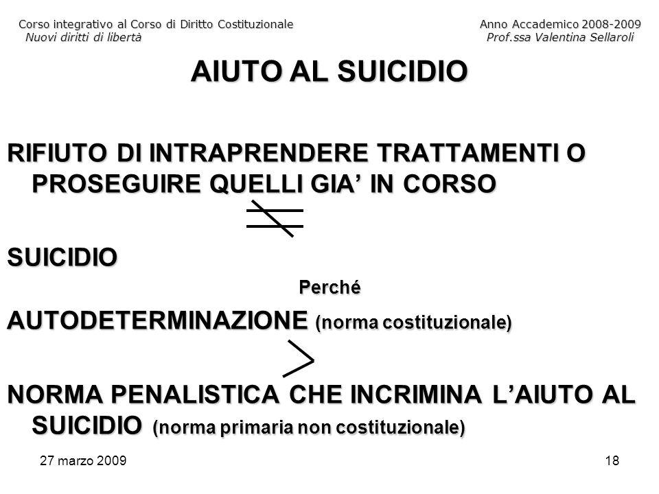 27 marzo 200918 Corso integrativo al Corso di Diritto CostituzionaleAnno Accademico 2008-2009 Nuovi diritti di libertàProf.ssa Valentina Sellaroli AIU