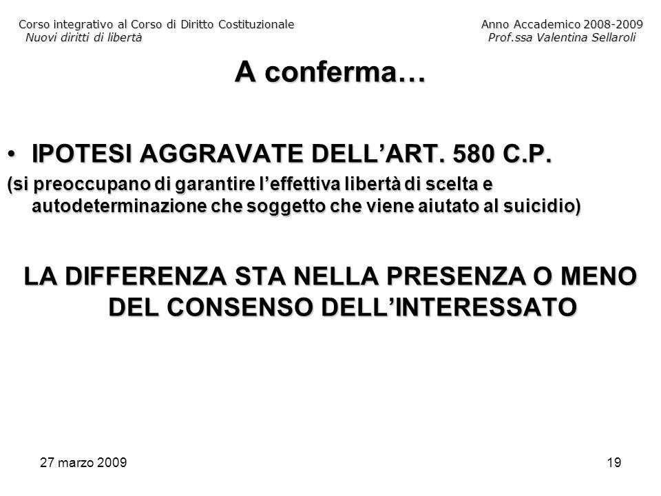 27 marzo 200919 Corso integrativo al Corso di Diritto CostituzionaleAnno Accademico 2008-2009 Nuovi diritti di libertàProf.ssa Valentina Sellaroli A c