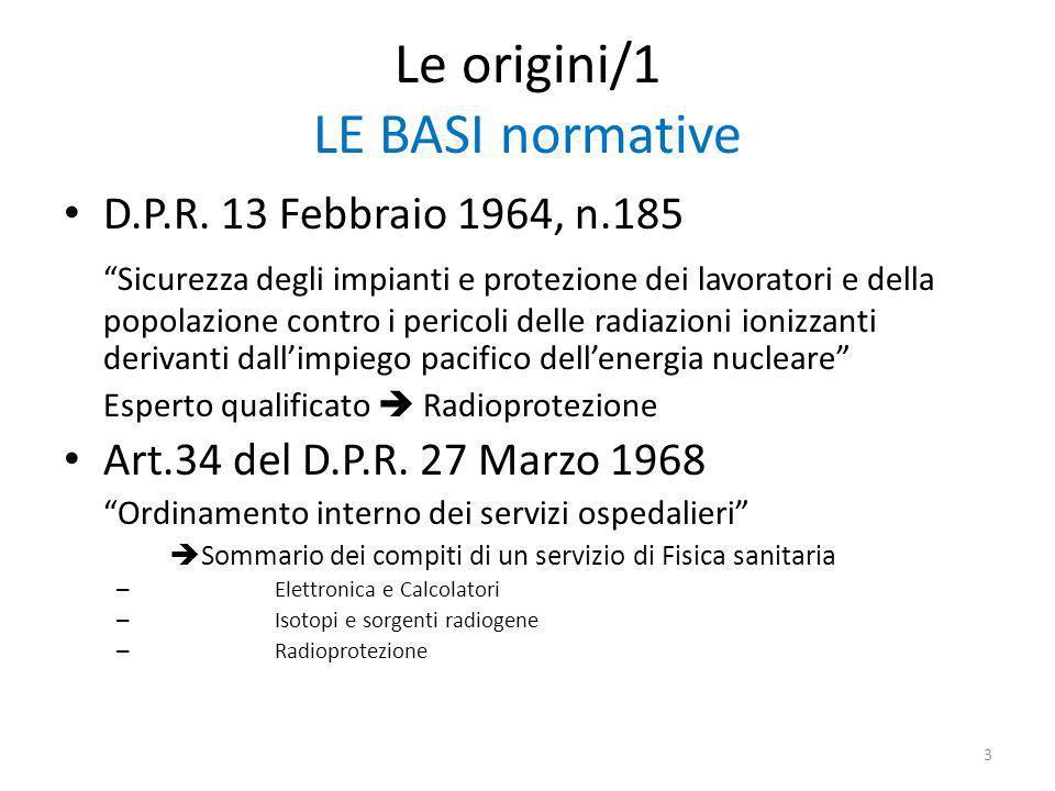 Le origini/1 LE BASI normative D.P.R.