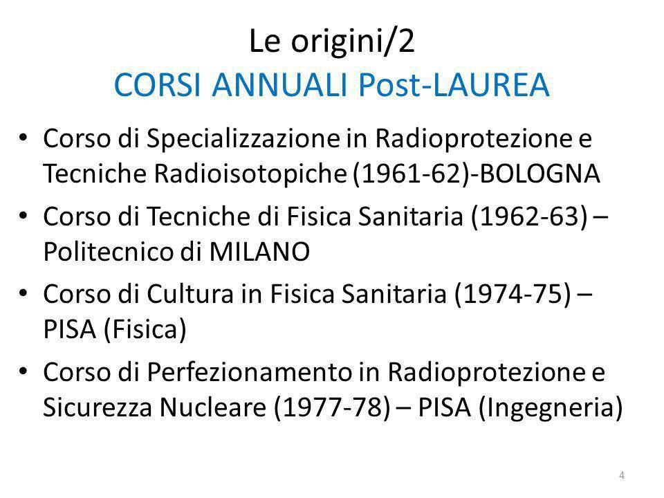 Le origini/2 CORSI ANNUALI Post-LAUREA Corso di Specializzazione in Radioprotezione e Tecniche Radioisotopiche (1961-62)-BOLOGNA Corso di Tecniche di Fisica Sanitaria (1962-63) – Politecnico di MILANO Corso di Cultura in Fisica Sanitaria (1974-75) – PISA (Fisica) Corso di Perfezionamento in Radioprotezione e Sicurezza Nucleare (1977-78) – PISA (Ingegneria) 4