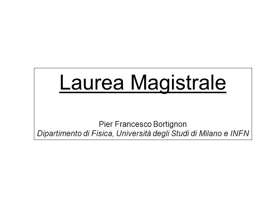 Laurea Magistrale Pier Francesco Bortignon Dipartimento di Fisica, Università degli Studi di Milano e INFN