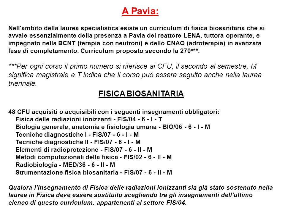 A Pavia: Nell'ambito della laurea specialistica esiste un curriculum di fisica biosanitaria che si avvale essenzialmente della presenza a Pavia del re